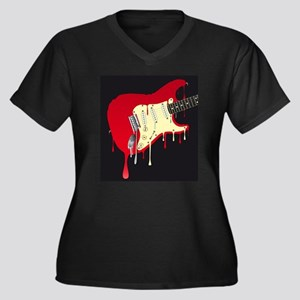 Melting Electric Guitar Plus Size T-Shirt