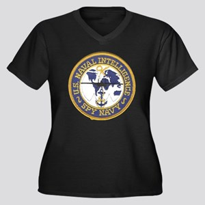 Spy Navy Pat Women's Plus Size Dark V-Neck T-Shirt