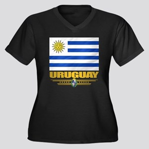Uruguay Flag Women's Plus Size Dark V-Neck T-Shirt