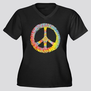 e693754b6 tiedye-peace Women's Plus Size Dark V-Neck T-Shirt