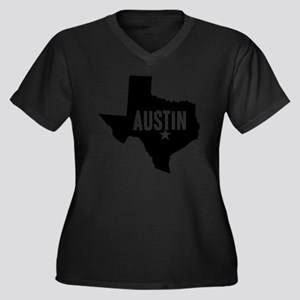 Austin, TX Women's Plus Size Dark V-Neck T-Shirt