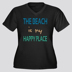 The Beach Is Women's Plus Size Dark V-Neck T-Shirt