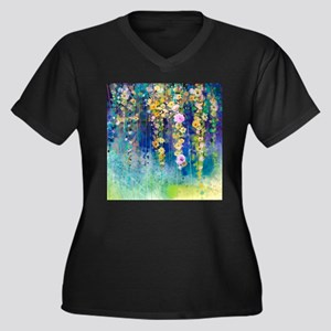 Floral Paint Women's Plus Size V-Neck Dark T-Shirt