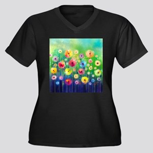 Watercolor F Women's Plus Size V-Neck Dark T-Shirt