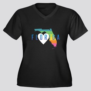 Florida Heart Rainbow Plus Size T-Shirt