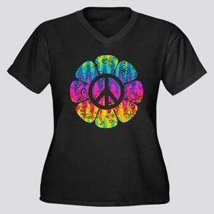 Colorful Pea Women's Plus Size V-Neck Dark T-Shirt