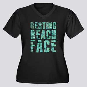 Resting Beac Women's Plus Size V-Neck Dark T-Shirt