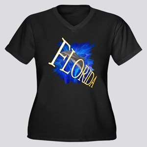 Florida blue Women's Plus Size V-Neck Dark T-Shirt