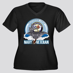 CVN-65 USS Enterprise Women's Plus Size V-Neck Dar