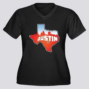 Austin Texas Skyline Women's Plus Size V-Neck Dark