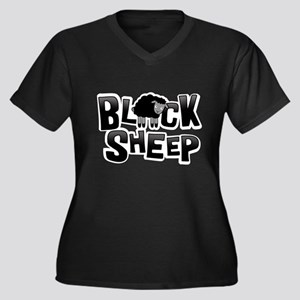 Black Sheep Dark Women's Plus Size V-Neck Dark T-S