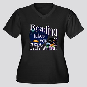 Reading Take Women's Plus Size V-Neck Dark T-Shirt