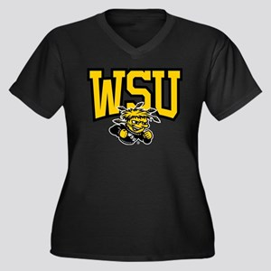 WSU WuShock Women's Plus Size V-Neck Dark T-Shirt