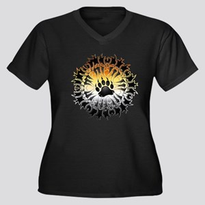 Tribal Bear  Women's Plus Size Dark V-Neck T-Shirt