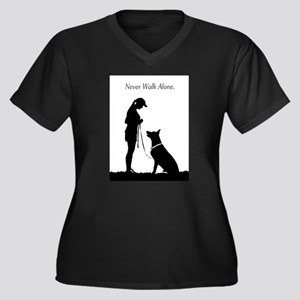 German Shepherd Silhouette Women's Plus Size V-Nec
