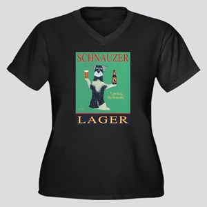 Schnauzer La Women's Plus Size V-Neck Dark T-Shirt