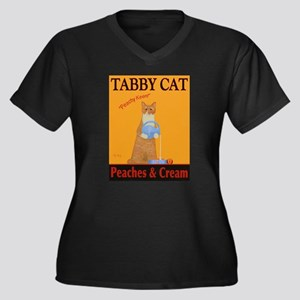 Tabby Cat Pe Women's Plus Size V-Neck Dark T-Shirt