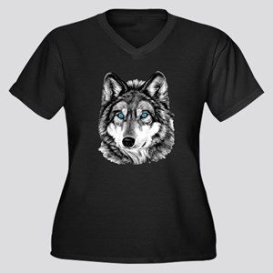 Painted Wolf Grayscale Women's Plus Size V-Neck Da