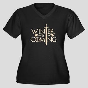 Winter Is Coming Women's Plus Size V-Neck Dark T-S