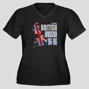 British Invasion Women's Plus Size V-Neck Dark T-S