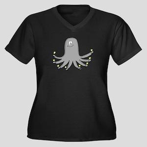 Octopus Handbells Women's Plus Size V-Neck Dark T-