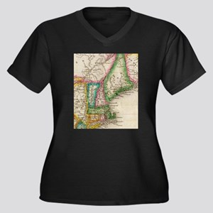 Vintage Map of New England (1822 Plus Size T-Shirt
