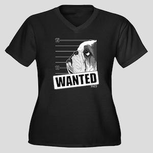 Bulldog5-NB Women's Plus Size Dark V-Neck T-Shirt