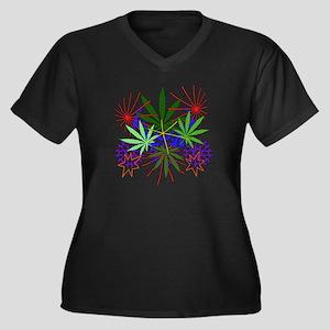 Marijuana Art Women's Plus Size V-Neck Dark T-Shir