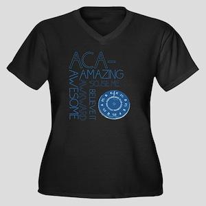 ACA-WHAT Women's Plus Size Dark V-Neck T-Shirt