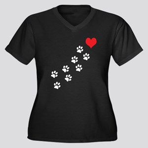 Paw Prints T Women's Plus Size V-Neck Dark T-Shirt