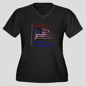 America Love Women's Plus Size Dark V-Neck T-Shirt