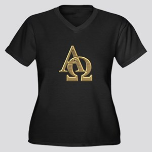 """3-D"" Golden Alpha and Omega Symbol Women's Plus S"