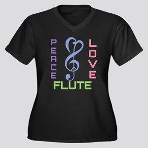 Peace Love Flute Music Women's Plus Size V-Neck Da