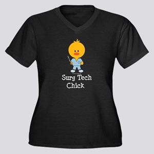 Surgical Tech Chick Women's Plus Size V-Neck Dark