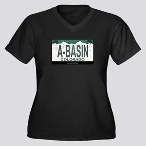 A-Basin Plate Women's Plus Size V-Neck Dark T-Shir