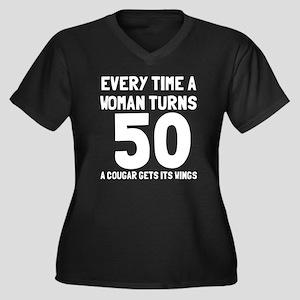 A cougar get Women's Plus Size V-Neck Dark T-Shirt