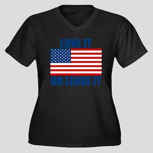 LOVEIT Women's Plus Size Dark V-Neck T-Shirt