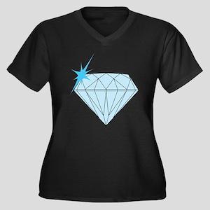 Diamond Women's Plus Size V-Neck Dark T-Shirt