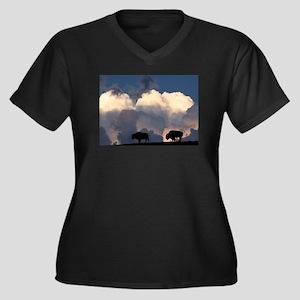 Bison Island Women's Plus Size V-Neck Dark T-Shirt
