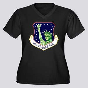 48th FW Women's Plus Size Dark V-Neck T-Shirt