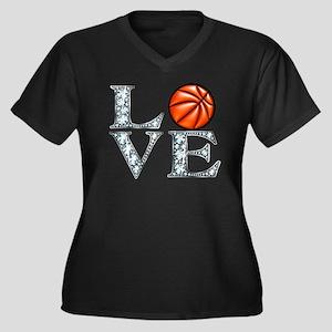 Love Basketb Women's Plus Size V-Neck Dark T-Shirt