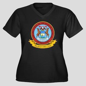Michigan Sea Women's Plus Size Dark V-Neck T-Shirt