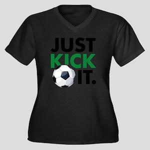 KickIt1C Women's Plus Size Dark V-Neck T-Shirt