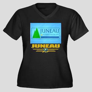 Juneau (Flag Women's Plus Size Dark V-Neck T-Shirt