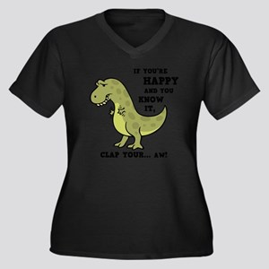 t-rex-clap-2 Women's Plus Size Dark V-Neck T-Shirt