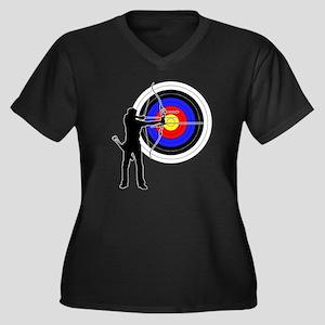 archery man Women's Plus Size V-Neck Dark T-Shirt