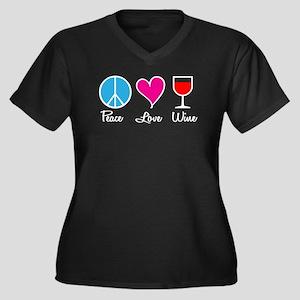 Peace Love Wine Women's Plus Size V-Neck Dark T-Sh