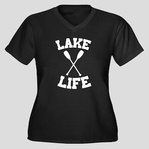 Lake life Women's Plus Size V-Neck Dark T-Shirt