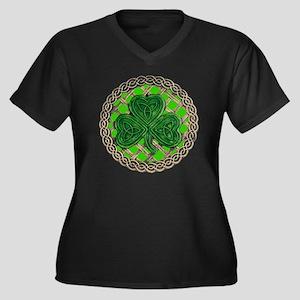 Shamrock And Women's Plus Size Dark V-Neck T-Shirt