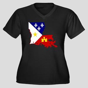 Acadiana Sta Women's Plus Size V-Neck Dark T-Shirt